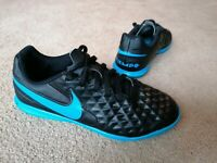 Nike Tiempo Astro Turf Football Boots Trainers Black Blue Uk Size 3