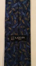 Lanvin PARIS Blue Beige Abstract 100% Silk Mens Necktie Canada Made 56x3.25