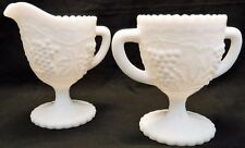 Vintage Imperial Glass White Milk Glass Grape Leaf Footed Sugar and Creamer Set