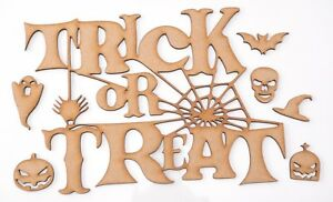 Halloween Wooden MDF Shape - TRICK or TREAT with spider web - set of 7 items