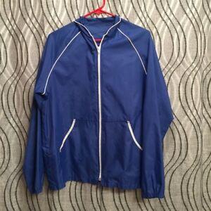 VINTAGE WINDBREAKER Jacket - Blue & White - Men or Women - lightweight - Large