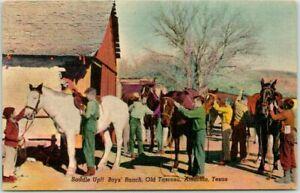 "Amarillo, Texas Postcard BOYS RANCH, Old Tascosa ""Saddle Up!"" Horses Linen 1950s"