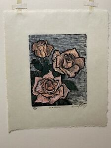 5 x 4 Small Woodcut Print Pink Roses by Rosemary Feit Covey 22/150 Woodblock