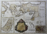 große kolorierte Kupferkarte östliches Mittelmeer Türkei Syrien Sanson 1696 rara