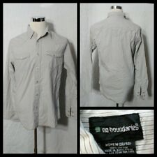 No Boundaries Pearl Snap Shirt Men's Med. White & Blue Striped Inv#Z1055
