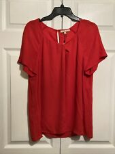 NWT Serein Semi-sheer Top Size L Large Twisted Neckline Short Sleeves Red