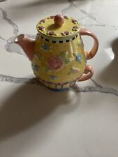 """Mary Engelbreit """" Floral Teapot For One Individual Cup Embossed By Michael Me"""