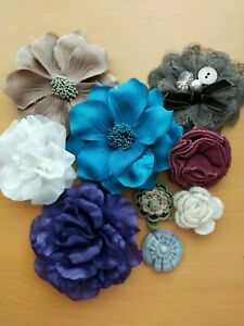 Bundle of Flower Brooches Cloth & Crochet