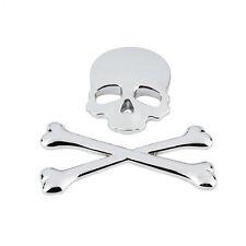 3D Chrome Skull Cross Bones Car Emblem Badge Logo Metal Sticker Decals Skeleton
