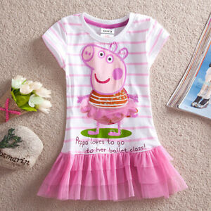 New Baby Girls Peppa Pig Shirt Dress Short Sleeves Toddler Clothes Size:1-5 Yrs