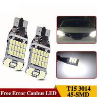 2PCS Canbus Error 4014 45SMD T10 T15 W16W LED Reverse Backup Bright White 12-24V