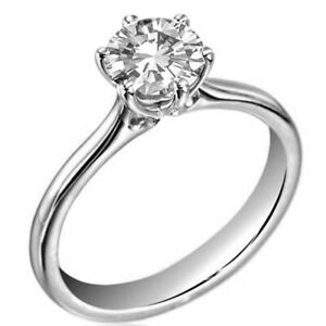 Engagement Ring 1 Carat 6 Claw Diamond Unique Solid Silver  Ring