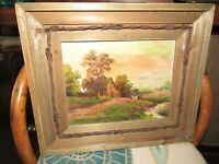OIL PAINTING ON BOARD COUNTRY COTTAGE ARTIST SIGNED TIBET LANDSCAPE RUSTIC FRAME