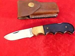 "Gerber USA Made brass & wood 4.5"" closed Lockback Lock Blade Knife & sheath"