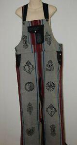 Overalls Jumpsuit Pants Bib Overalls Dungarees Hippy Block print Boho Womens L