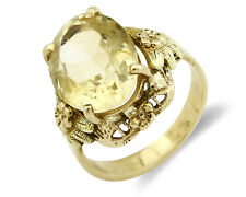 Women's 6.21 tcw Citrine 14k SOLID Yellow Gold Flower Solitaire Ring
