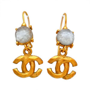 Auth vintage Chanel stud pierced earrings white stone CC logo dangle 99P #st3005