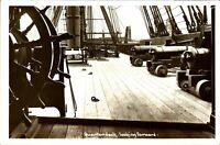 Quarterdeck looking forward RPPC postcard antique Royal Navy cannons guns