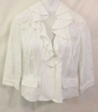 NWT American Living XL Ruffled White Blazer Long Sleeve Button Linen Cotton