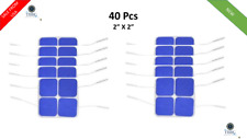 """40 Replacement Tens Electrode Pads EMS for Tens Units 7000 3000 2x2"""" Blue Cloth"""