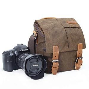 Camera Bag, Vintage Canvas Camera Shoulder Bag Waterproof Leather Trim DSLR SLR