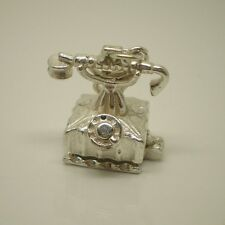 3D Telephone Opening Sterling Silver Clip on Charm Pendant