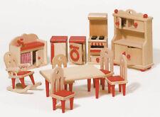 """Puppenhausmöbel """"natur"""" KÜCHE 11-teilig Puppenmöbel Holzküche Kinder Puppen NEU"""