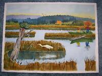 VINTAGE PRIMITIVE FOLK ART EGRET BIRD FISHING DRIFTWOOD LAKE MOUNTAINS PAINTING