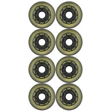 Inline Skate Rollerblade Wheel 73mm 75a Indoor Clear/Black Solid Hub Set of 8