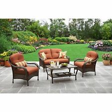 4pc Wicker Patio Conversation Set Seat Chair Table Outdoor Yard Furniture Orange