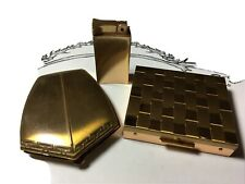 Lot 3- Vintage Items Gold Tone Compact, Box Coin Holder w Money Clip, Lighter