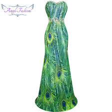 Angel-fashions Women Strapless Beaded Peacock Chiffon Dress Green 039 XL 16