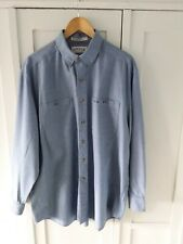 Lovely Mans ORVIS 100% Blue Cotton Shirt Size Large Worn Once!