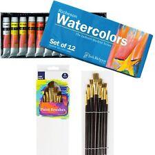 RICHESON 12 Colours x12ml Watercolour Paint Tubes Set + 8 Paint Brushes Kit