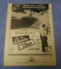 A Lesson in Love (1954) Ingmar Bergman Eva Dahlbeck, Gunnar Björnstran PRESSBOOK