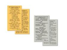~2 Cards~ Quik-Ref US - Metric Weights & Measures / Conversions Wallet Cards(2)