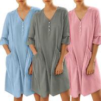 Women Summer V Neck Smock Dress Ladies Holiday Beach Casual Loose Shirt Sundress