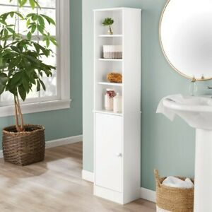 Bathroom Storage Linen Tower with Concealed Storage and 4 Fixed Shelves, White
