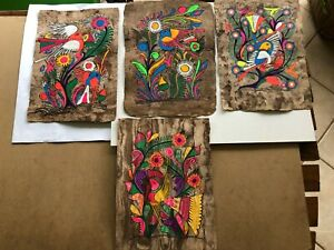 MEXICAN FOLK  ART X 4 PRINTS. HAND MADE IN MEXICO
