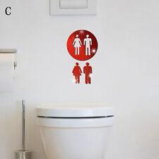 Removable 3D Toilet WC Man Women Decor Decal Vinyl Art Wall Sticker Mirror Decor