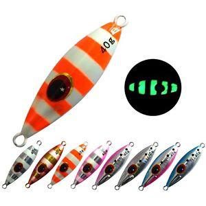 5PCS Zebra Glow Stripe Fishing Jig Deep sea Jigging Jigbait Spoon Lure 30/40/60g