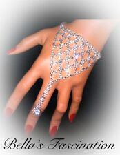 Elegant Crystal Rhinestone Slave Bracelet Ring Silver Bridal Hand Jewelry Chain