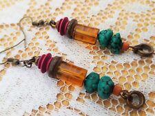 Bead Dangle Boho Costume Jewellery Handmade Earrings Pink Turquoise Amber Wood