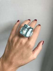 Estate 80.35 Carat Large Emerald Shape Aquamarine With CZ Accents Wedding Ring