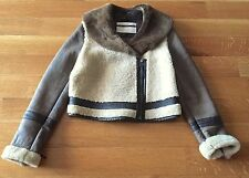 Topshop Sheepskin Shearling Brown Leather Asymmetrical Moto Flying Jacket Sz 8