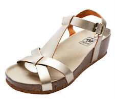 LADIES GOLD OPEN-TOE T-BAR LOW WEDGE STRAPPY COMFY SUMMER SANDALS SHOES SIZE 3-8