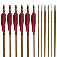 6/12/24PCS Bamboo Arrows 32'' Handmade Hunting Arrow with Natural Feathers