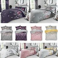 Feathers Reversible Duvet Cover Bedding Set Single Double Super King Size Luxury