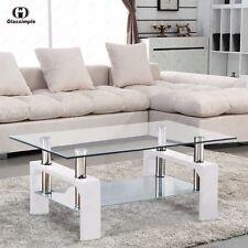 Rectangular Glass Coffee Table Shelf Chrome White Wood Living Room Furniture