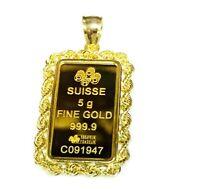 24k Fine Gold Suisse 5gr Bullion Ingot 14k Framed Charm Rope Pendant